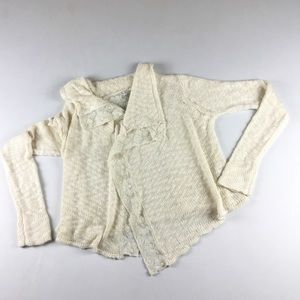 Lucky Brand Sweater Med Lace Open Front Shrug